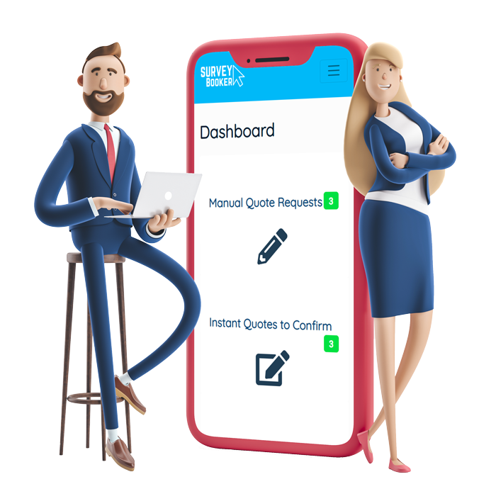 3D man on a bar stool with a laptop and woman leaning against a giant phone with survey booker screenshot