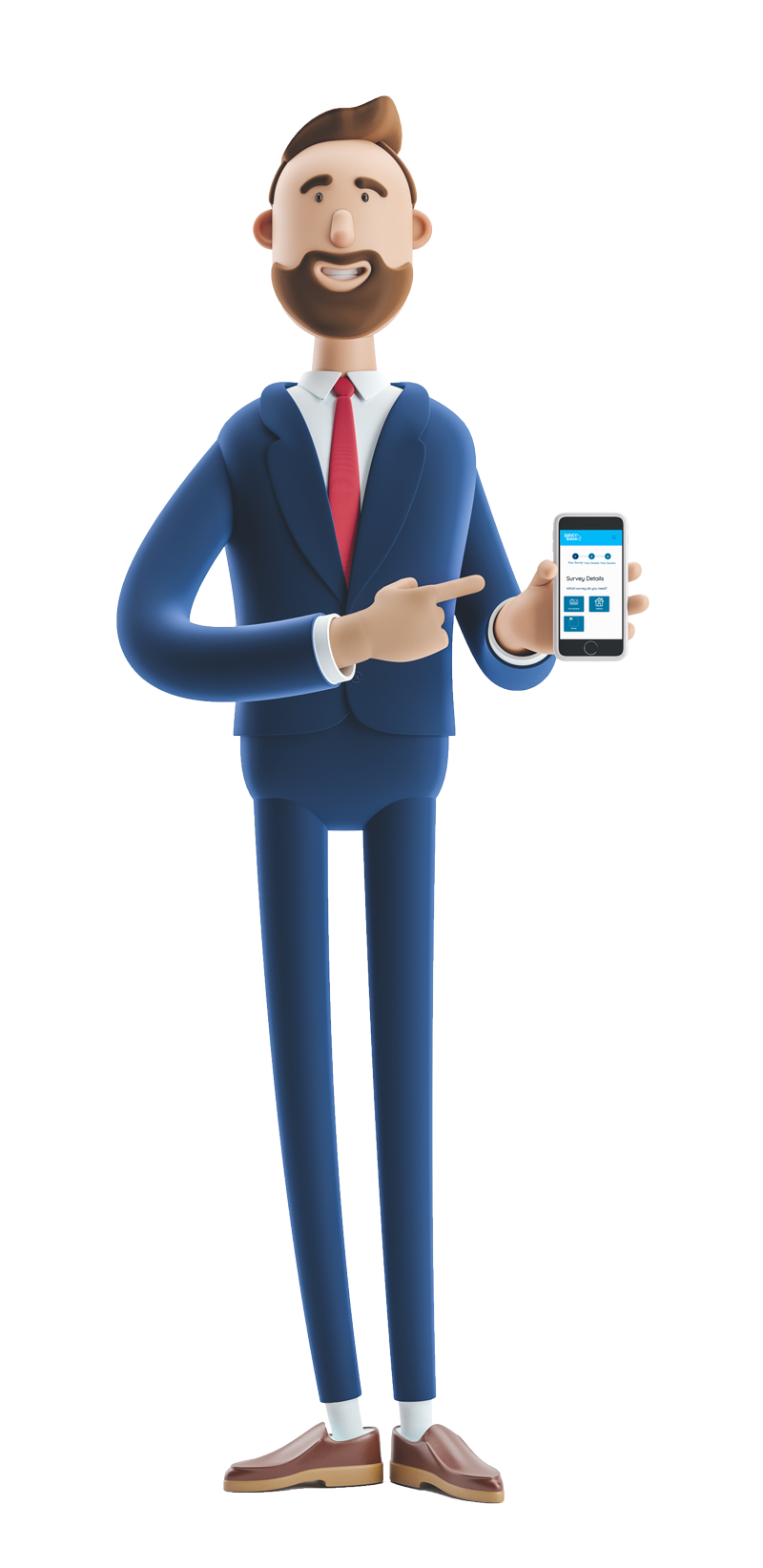3d male character standing up pointing at his mobile phone screen