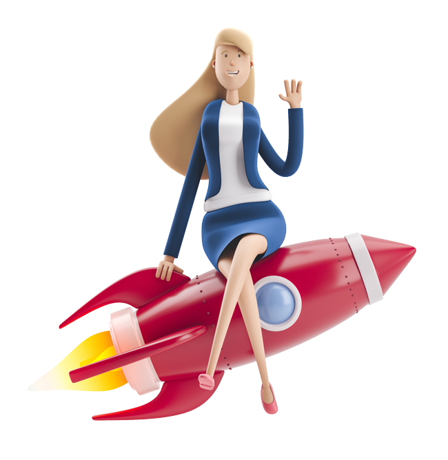 Female character in a blue suit sitting on a 3d red rocket