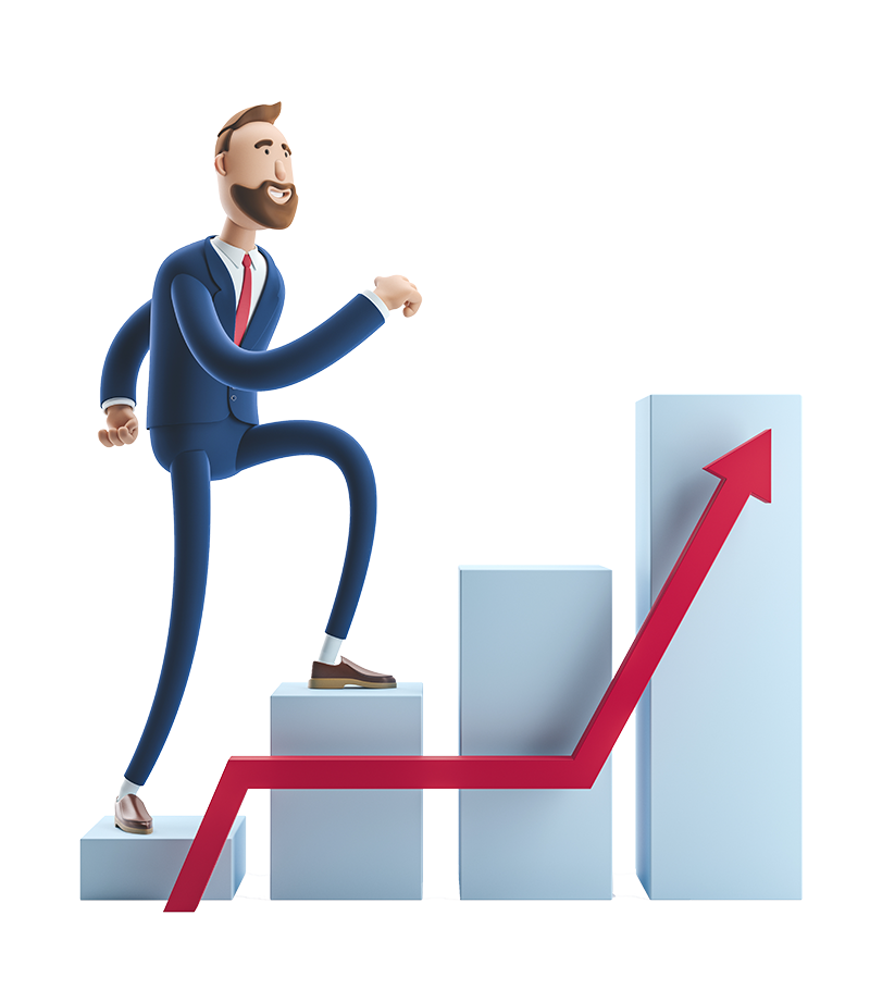 3d male business character walking up a bar chart with a red growth arrow