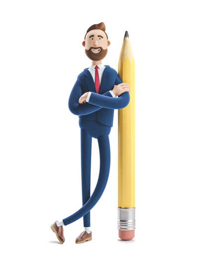 3d male standing next to a large 3d vertical pencil