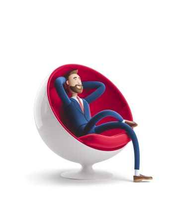 3d male business character relaxing in a large chair