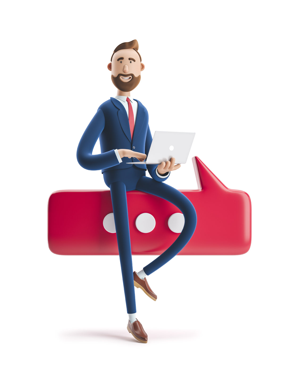3d male business character sitting on a red speech bubble with a laptop