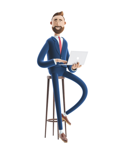 Male business character sitting on a bar stool with a laptop