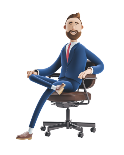 3d male business character sitting in an office chair